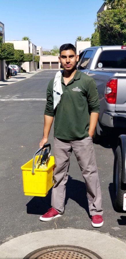 Alexander Salazar preparing to start his work day.