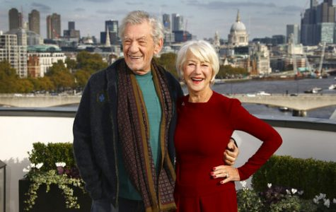 Actors Sir Ian McKellen, left, and Dame Helen Mirren pose for photographers upon at the photo call for the film 'The Good Liar' at a central London hotel, Wednesday, Oct. 30, 2019. (Photo by Joel C Ryan/Invision/AP)