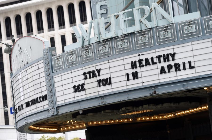 The marquee of the temporarily closed Wiltern Theater is pictured, Monday, March 16, 2020, in Los Angeles. Los Angeles Mayor Eric Garcetti on Sunday ordered all of the city's bars, nightclubs, restaurants, gyms, and entertainment venues to close in order to prevent the spread of the coronavirus.