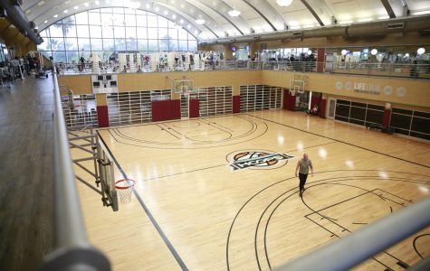 Tuesday, March 10, 2020 empty basketball court at Life Time Athletic gym in Boca Raton.