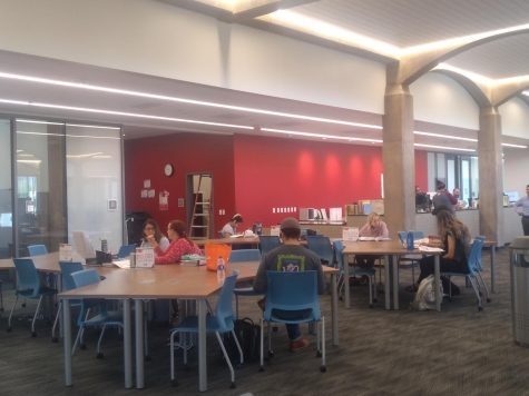 Photo courtesy of The Chaparral. Students working at TASC located in the new Hilb Library.