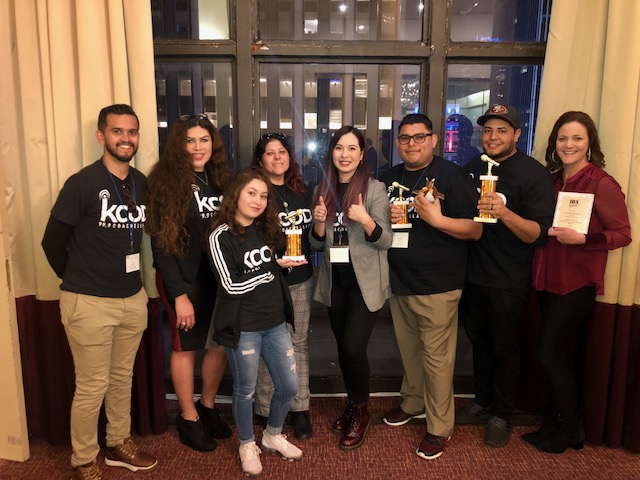 Photo courtesy of The Chaparral. KCOD staff at the Intercollegiate Broadcasting Systems award ceremony in New York.