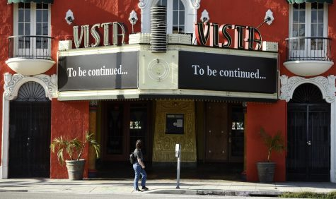Vista movie theatre, April 21, 2020, in Los Angeles. Photo Courtesy of AP Images.