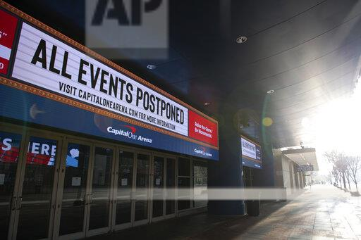 Photo courtesy of AP Images Graeme Sloan/Sipa. A general view of an illuminated sign at the Capital One Arena – where the NBA's Washington Wizards, and the NHL's Washington Capitols both play home games – that reads