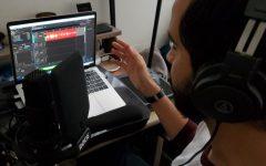 Photo courtesy of Alexandro Zatarain. KCOD lab tech and radio production adjunct instructor Alexandro Zatarain teaching and creating content for KCOD at home.