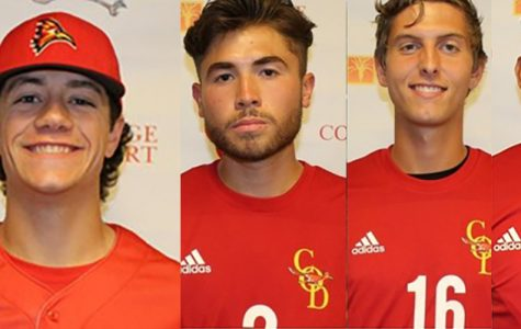 (From left to right) Men's basketball coach Trent Skinner, baseball player Harrison Nation and from the soccer team Lucas Rosales, Vincenzo Costaglolia, Jose Reyes and Alejandro Pimentel.
