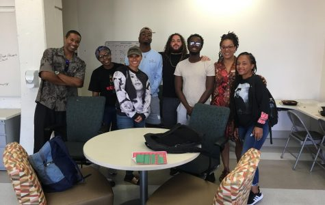 Photo courtesy of Professor Jermaine Cathcart. Cathcart (left) and some of the Black Student Success Center's students and staff.
