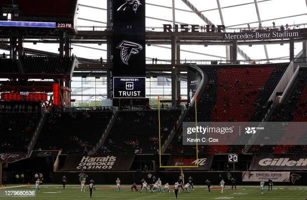 ATLANTA, GEORGIA - OCTOBER 11:  A general view of Mercedes-Benz Stadium during the first half of play between the Atlanta Falcons and the Carolina Panthers on October 11, 2020 in Atlanta, Georgia. (Photo by Kevin C. Cox/Getty Images)