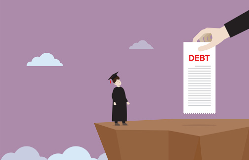 A graduate student stands on a cliff with a student debt bill