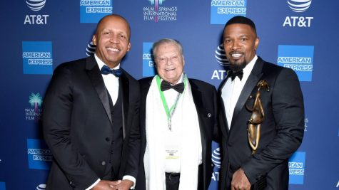Photo courtesy of Irving Cansino. Bryan Stevenson, Harold Matzner and Jamie Foxx captured in a group photo during the 31st annual Palm Springs International Film Festival Awards Gala at the Palm Springs Convention Center on Jan. 2, 2020.