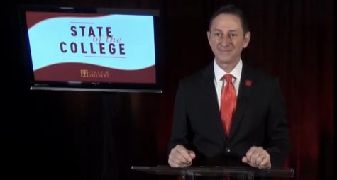 Photo courtesy of The Chaparral. Dr. Kinnamon delivering the virtual state of the college address on March 17.