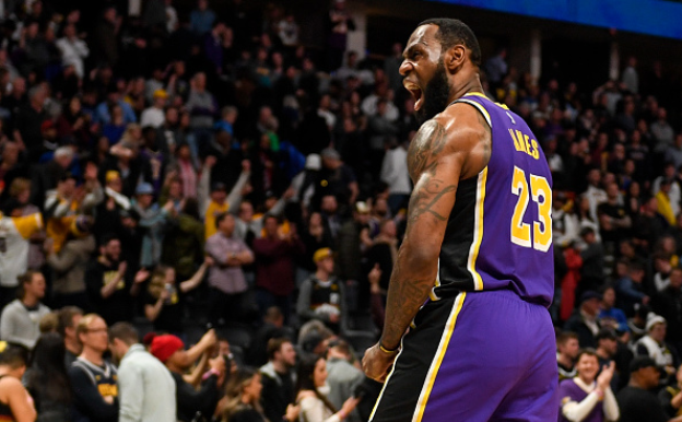 Photo courtesy of AAron Ontiveroz/Getty Images.LeBron James (23) of the Los Angeles Lakers celebrates the final horn against the Denver Nuggets during overtime quarter of Los Angeles' 120-116 win on Wednesday, February 12, 2020.