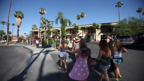 Tourist walking around Palm Springs